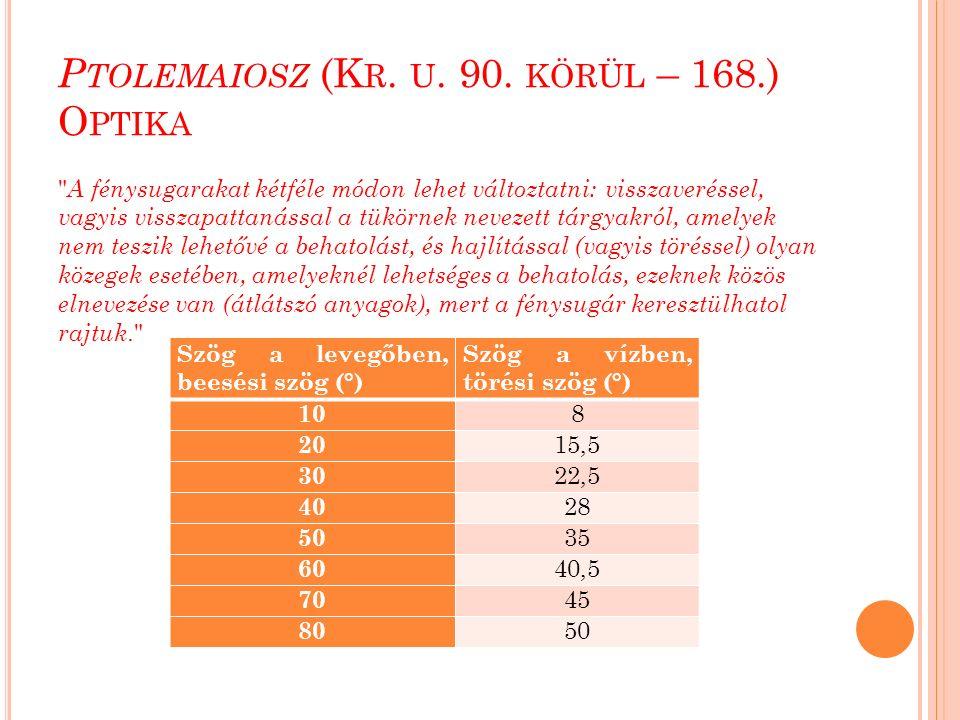 A L -B IRÚNI MUNKÁSSÁGA tg  1 = h/(d+x) és tg  2 = h/x.