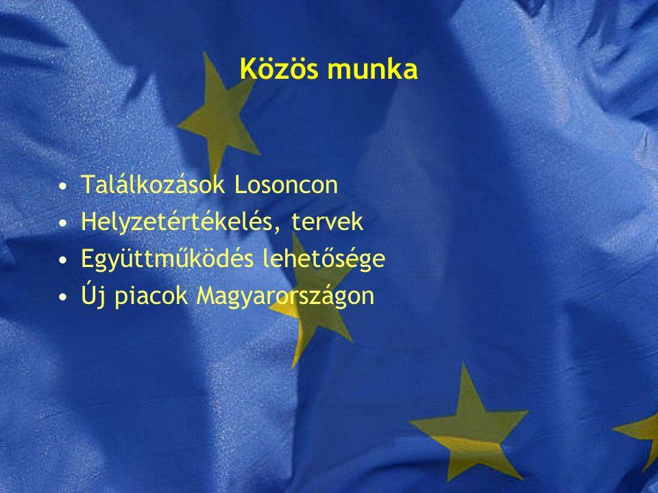 Közös munka Találkozások Losoncon Helyzetértékelés, tervek Együttműködés lehetősége Új piacok Magyarországon