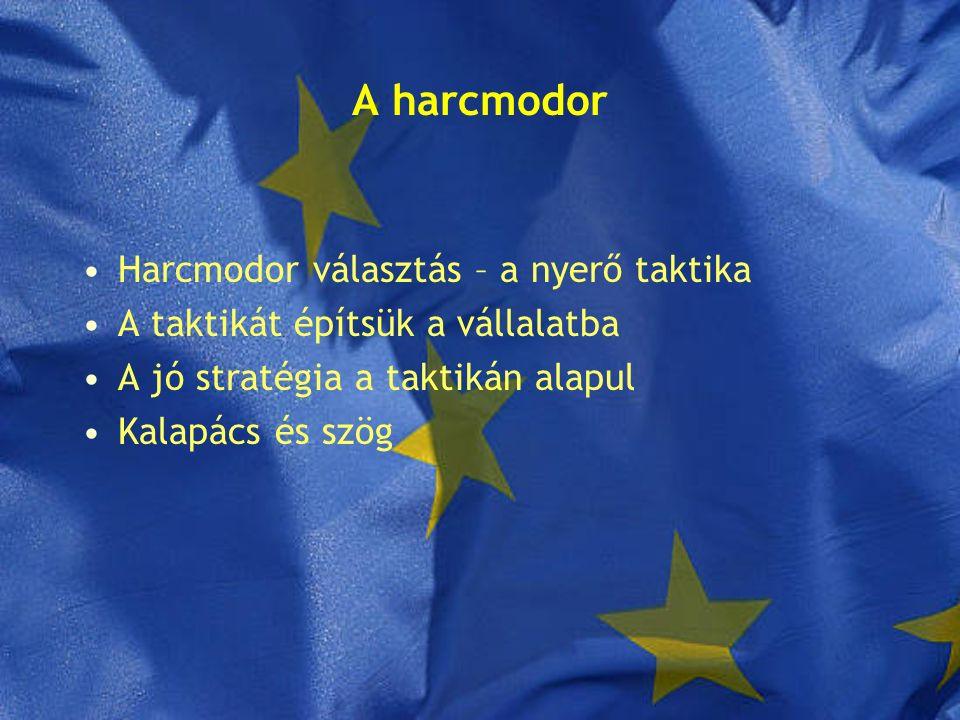A harcmodor Harcmodor választás – a nyerő taktika A taktikát építsük a vállalatba A jó stratégia a taktikán alapul Kalapács és szög