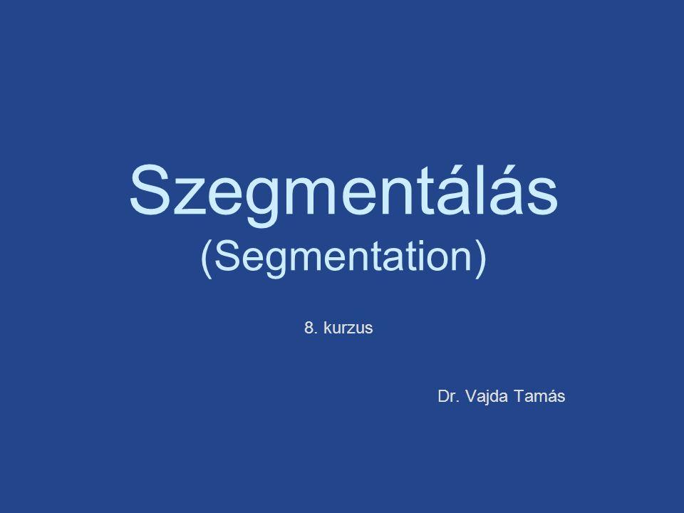 8. kurzus Szegmentálás (Segmentation) Dr. Vajda Tamás