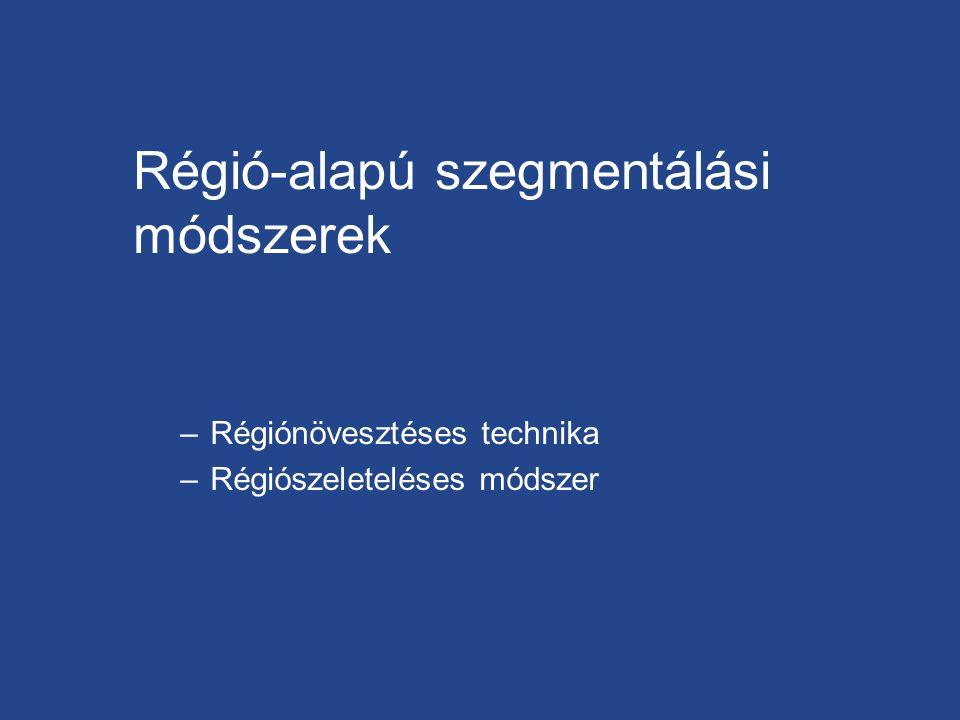 Régió-alapú szegmentálási módszerek –Régiónövesztéses technika –Régiószeleteléses módszer