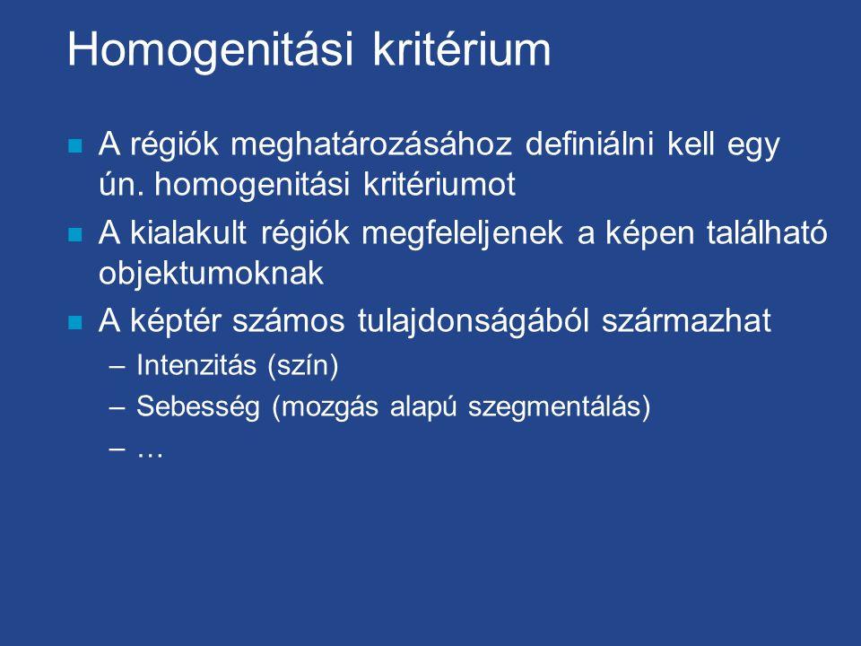 Homogenitási kritérium n A régiók meghatározásához definiálni kell egy ún. homogenitási kritériumot n A kialakult régiók megfeleljenek a képen találha