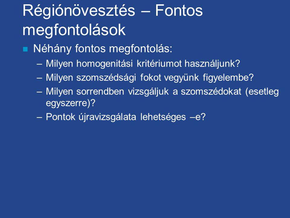 Régiónövesztés – Fontos megfontolások n Néhány fontos megfontolás: –Milyen homogenitási kritériumot használjunk? –Milyen szomszédsági fokot vegyünk fi