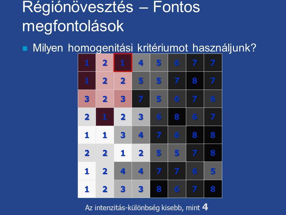 Régiónövesztés – Fontos megfontolások n Milyen homogenitási kritériumot használjunk? 4567 25 3567 13468 258 124 13678 3 1 2 2 1 1 2 4 32 2 7 8 7 36 7