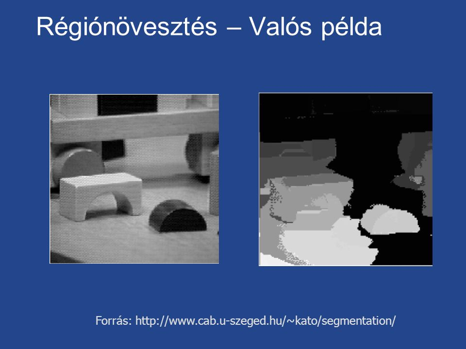 Régiónövesztés – Valós példa Forrás: http://www.cab.u-szeged.hu/~kato/segmentation/