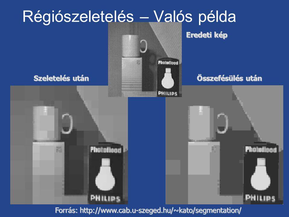 Régiószeletelés – Valós példa Forrás: http://www.cab.u-szeged.hu/~kato/segmentation/ Eredeti kép Szeletelés után Összefésülés után