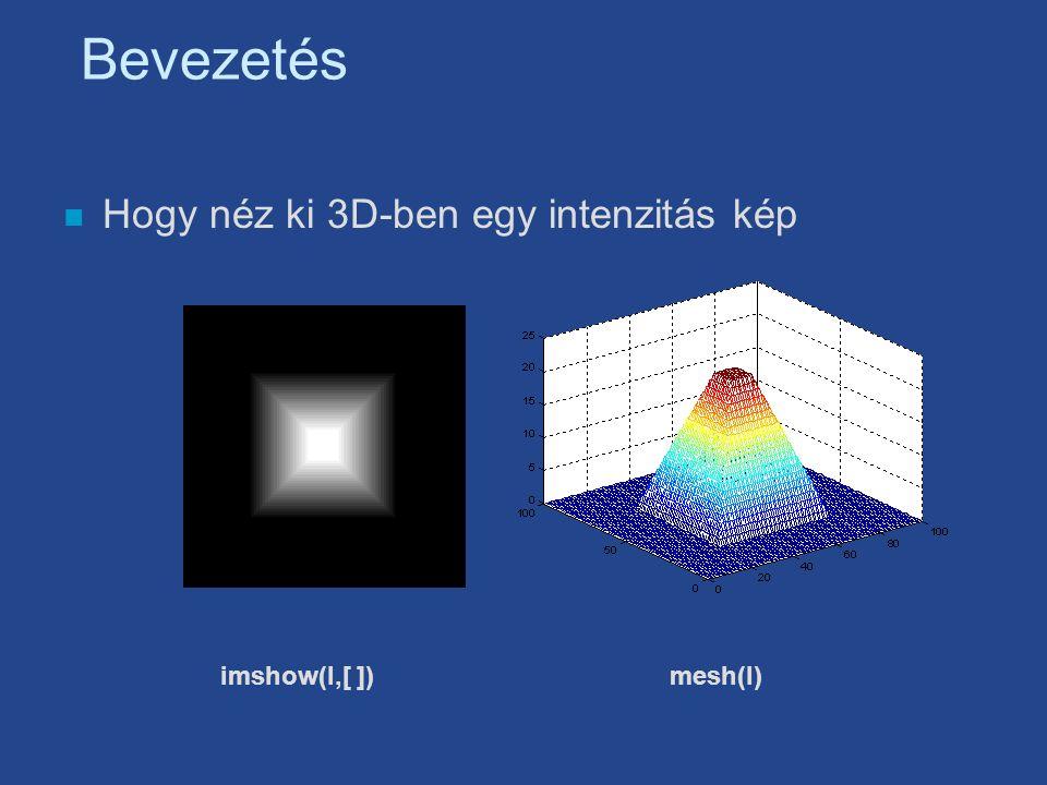 Bevezetés n Hogy néz ki 3D-ben egy intenzitás kép imshow(I,[ ])mesh(I)