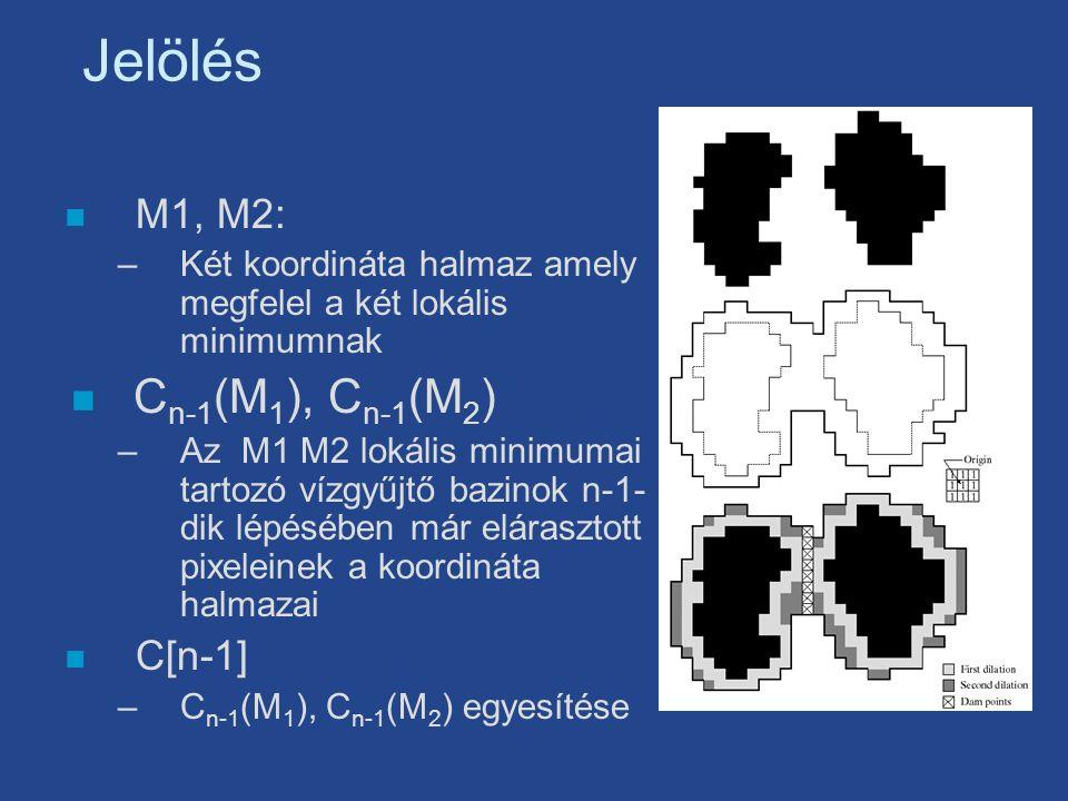 Jelölés n M1, M2: –Két koordináta halmaz amely megfelel a két lokális minimumnak n C n-1 (M 1 ), C n-1 (M 2 ) –Az M1 M2 lokális minimumai tartozó vízgyűjtő bazinok n-1- dik lépésében már elárasztott pixeleinek a koordináta halmazai n C[n-1] –C n-1 (M 1 ), C n-1 (M 2 ) egyesítése