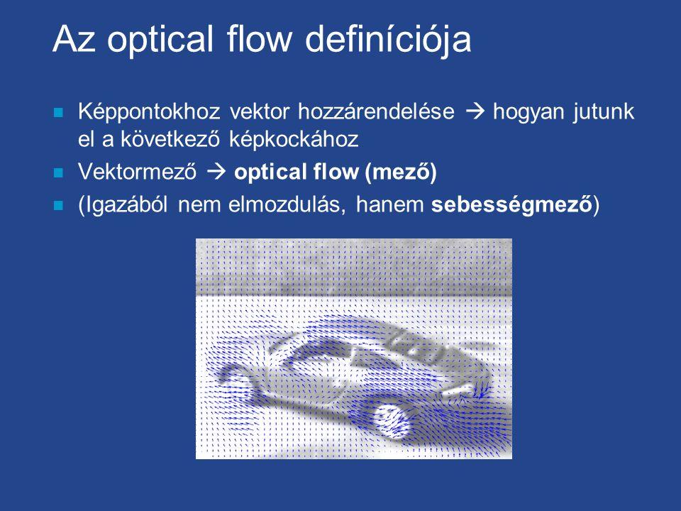 Az optical flow definíciója n Képpontokhoz vektor hozzárendelése  hogyan jutunk el a következő képkockához n Vektormező  optical flow (mező) n (Igazából nem elmozdulás, hanem sebességmező)