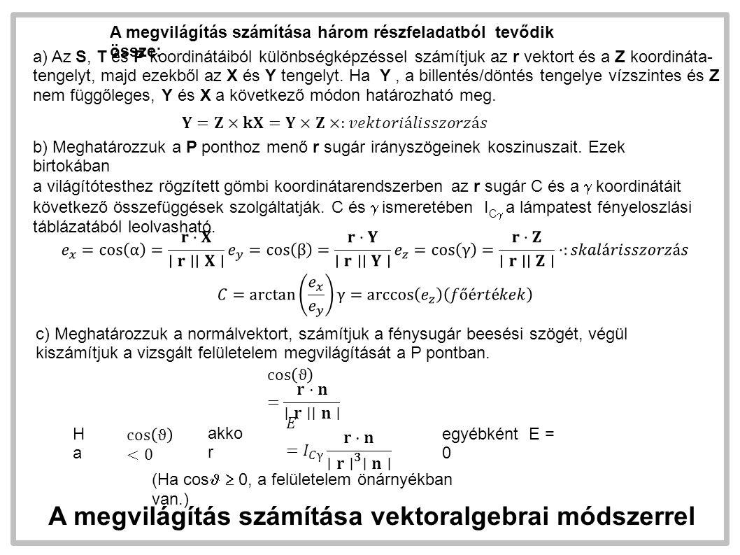A megvilágítás számítása vektoralgebrai módszerrel A megvilágítás számítása két részfeladatból tevődik össze: a) meghatározzuk a világítótest és a a P pont távolságát, valamint a fénysugár beesési szögét a P pontban Az egyenletek első sora tartalmazza a számítási összefüggéseket.