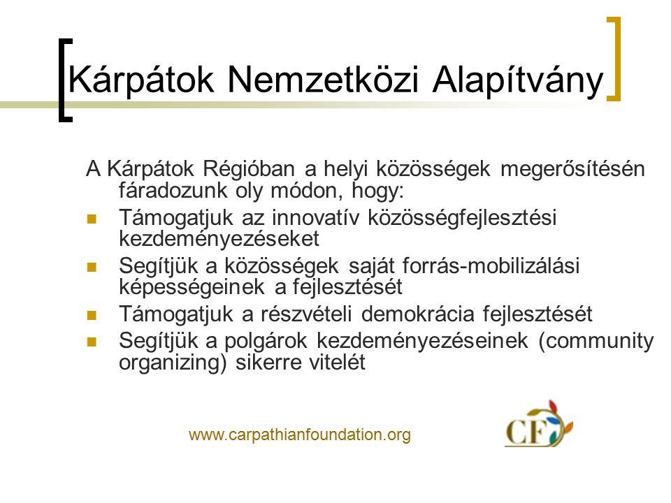 Kárpátok Nemzetközi Alapítvány Ennek keretében különösen fontosnak tartjuk: A sikeres közösségi alapítványi kezdeményezések megismerését Az ilyen szervezetek létrehozását célzó helyi vagy kistérségi civil kezdeményezések támogatását A polgárok aktivitásának ösztönzését a helyi problémák megoldásában
