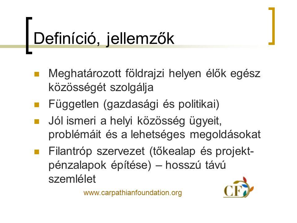 Definíció, jellemzők Meghatározott földrajzi helyen élők egész közösségét szolgálja Független (gazdasági és politikai) Jól ismeri a helyi közösség ügy