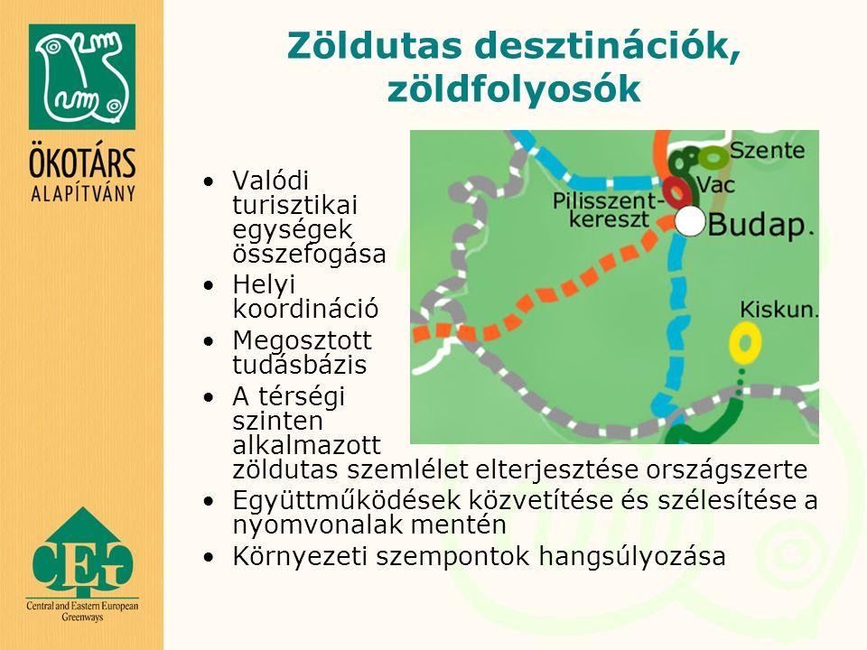 Zöldutas desztinációk, zöldfolyosók Valódi turisztikai egységek összefogása Helyi koordináció Megosztott tudásbázis A térségi szinten alkalmazott zöldutas szemlélet elterjesztése országszerte Együttműködések közvetítése és szélesítése a nyomvonalak mentén Környezeti szempontok hangsúlyozása