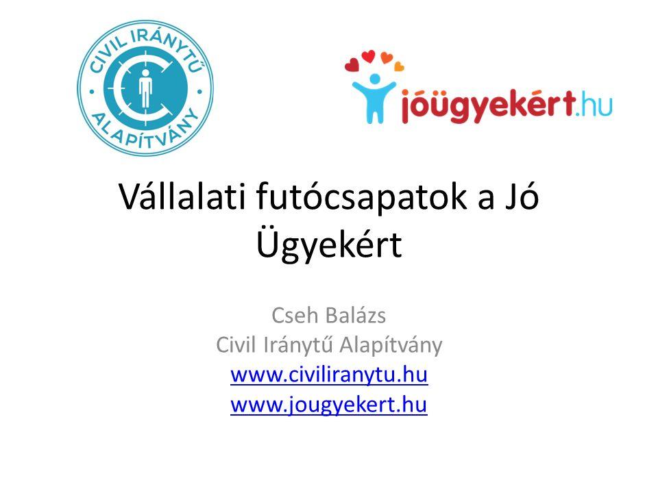 Vállalati futócsapatok a Jó Ügyekért Cseh Balázs Civil Iránytű Alapítvány www.civiliranytu.hu www.jougyekert.hu