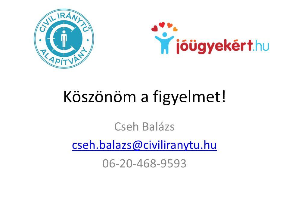 Köszönöm a figyelmet! Cseh Balázs cseh.balazs@civiliranytu.hu 06-20-468-9593