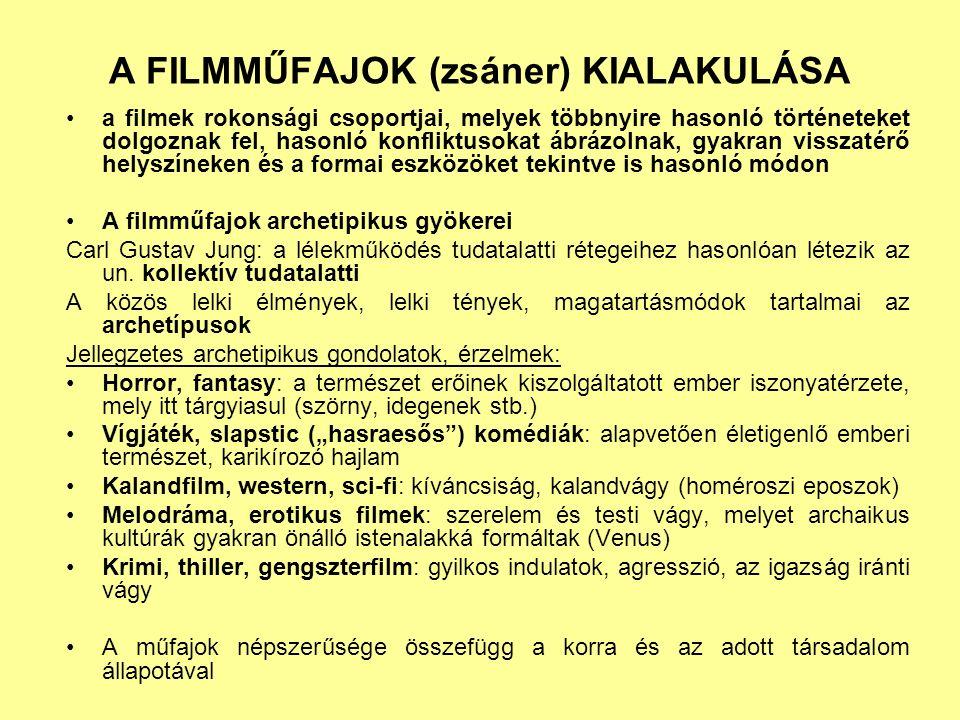 A FILMMŰFAJOK (zsáner) KIALAKULÁSA a filmek rokonsági csoportjai, melyek többnyire hasonló történeteket dolgoznak fel, hasonló konfliktusokat ábrázolnak, gyakran visszatérő helyszíneken és a formai eszközöket tekintve is hasonló módon A filmműfajok archetipikus gyökerei Carl Gustav Jung: a lélekműködés tudatalatti rétegeihez hasonlóan létezik az un.