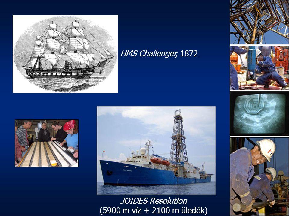 JOIDES Resolution (5900 m víz + 2100 m üledék) HMS Challenger, 1872