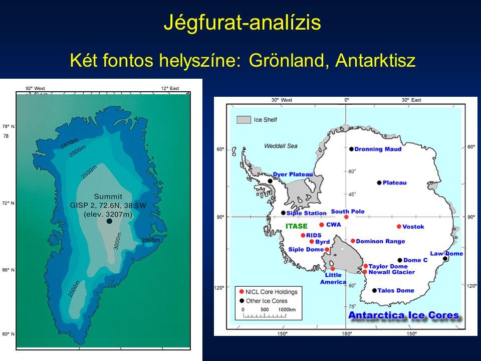 Jégfurat-analízis Két fontos helyszíne: Grönland, Antarktisz