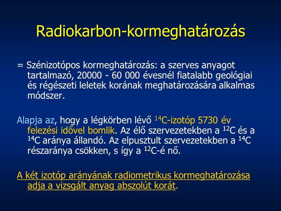 Radiokarbon-kormeghatározás = Szénizotópos kormeghatározás: a szerves anyagot tartalmazó, 20000 - 60 000 évesnél fiatalabb geológiai és régészeti leletek korának meghatározására alkalmas módszer.