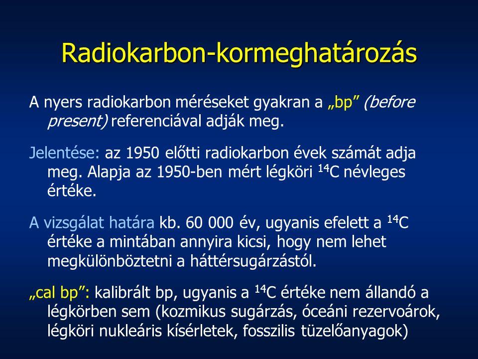 """Radiokarbon-kormeghatározás A nyers radiokarbon méréseket gyakran a """"bp"""" (before present) referenciával adják meg. Jelentése: az 1950 előtti radiokarb"""