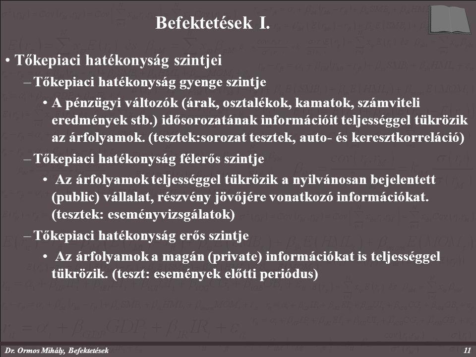 Dr. Ormos Mihály, Befektetések11 Befektetések I.