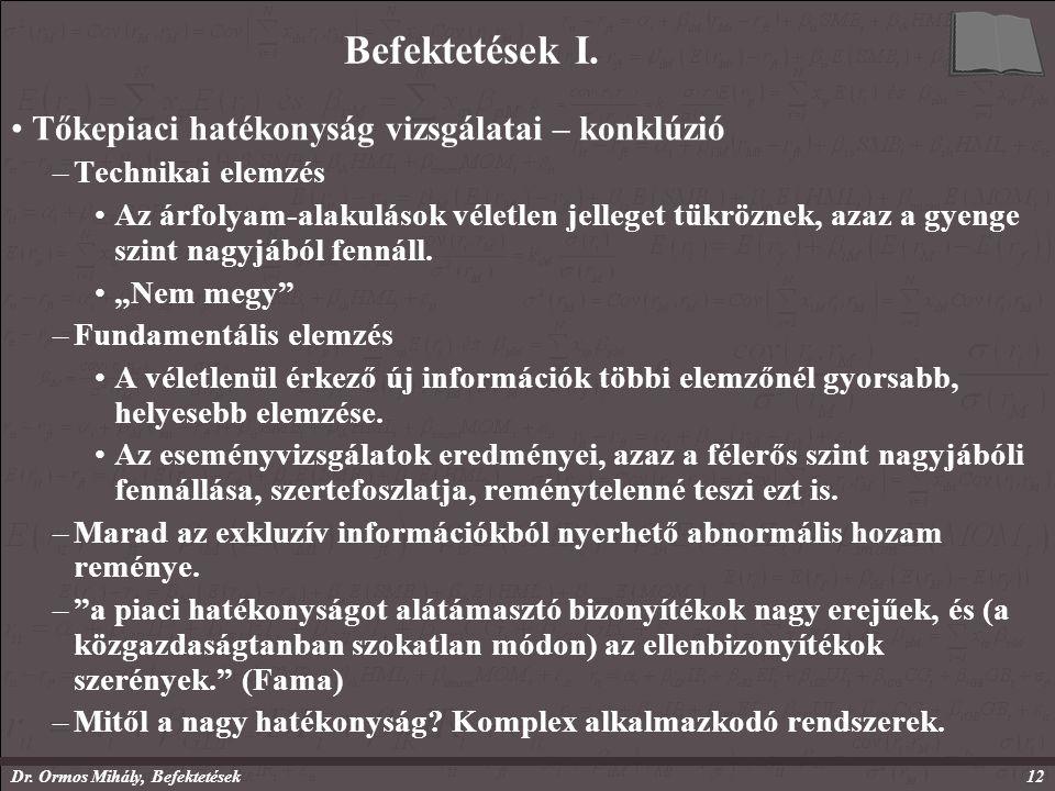 Dr. Ormos Mihály, Befektetések12 Befektetések I.