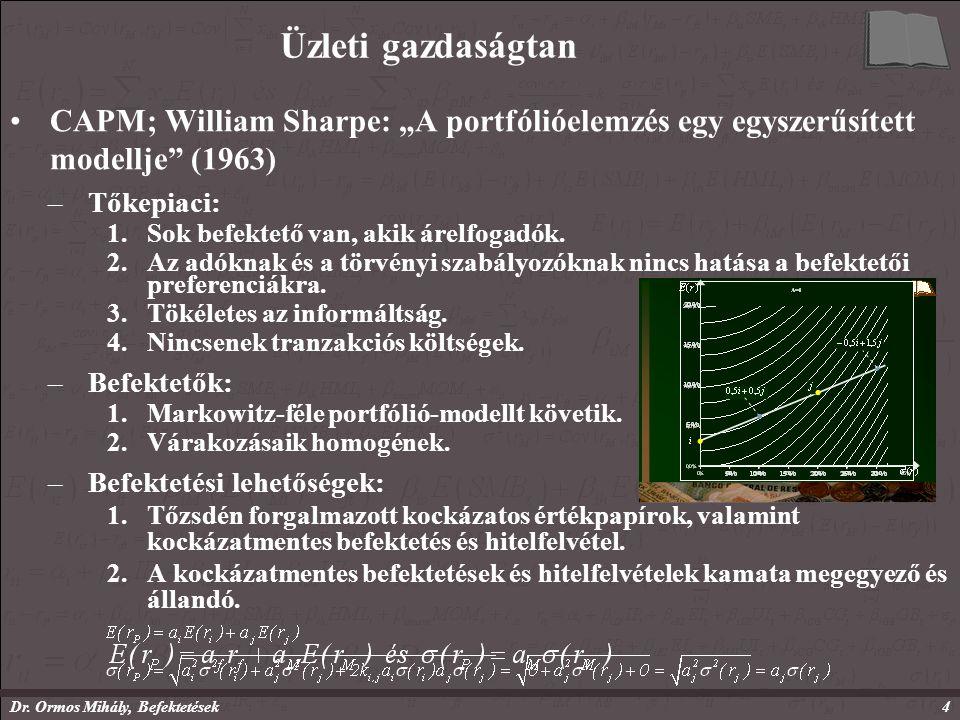 """Dr. Ormos Mihály, Befektetések4 Üzleti gazdaságtan CAPM; William Sharpe: """"A portfólióelemzés egy egyszerűsített modellje"""" (1963) –Tőkepiaci: 1.Sok bef"""