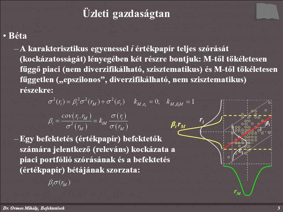 Dr. Ormos Mihály, Befektetések5 Üzleti gazdaságtan Béta –A karakterisztikus egyenessel i értékpapír teljes szórását (kockázatosságát) lényegében két r