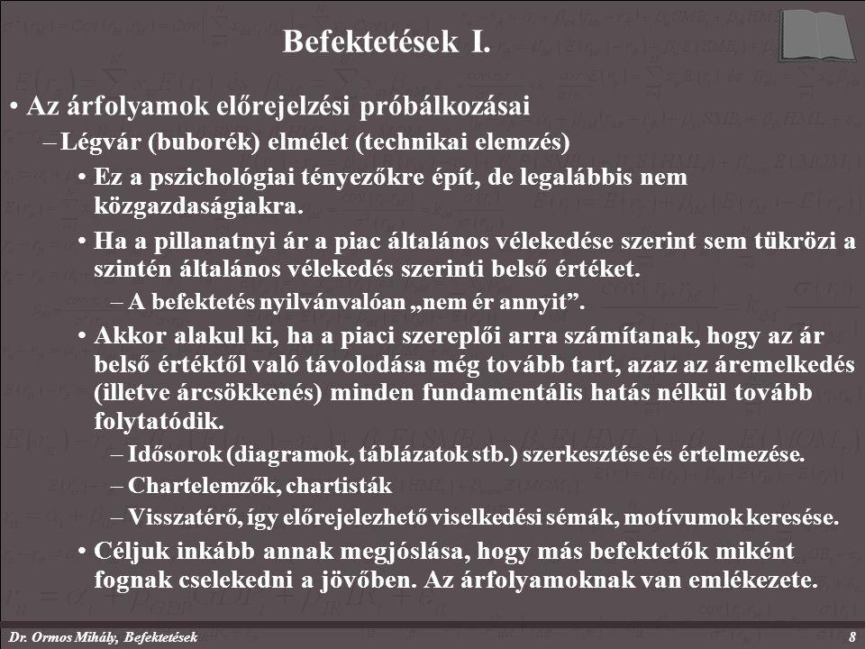 Dr. Ormos Mihály, Befektetések8 Befektetések I.