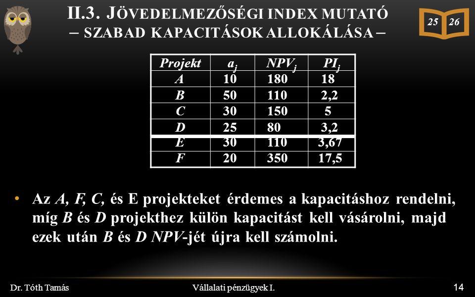 Vállalati pénzügyek I. Dr. Tóth Tamás 14 II.3.