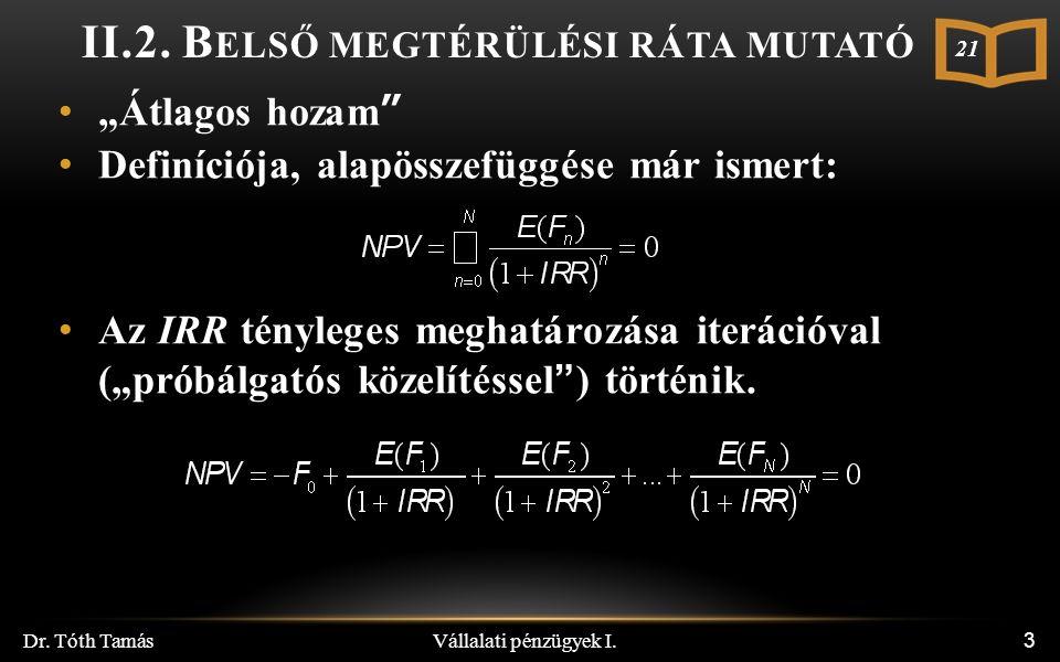 Vállalati pénzügyek I. Dr. Tóth Tamás 3 II.2.