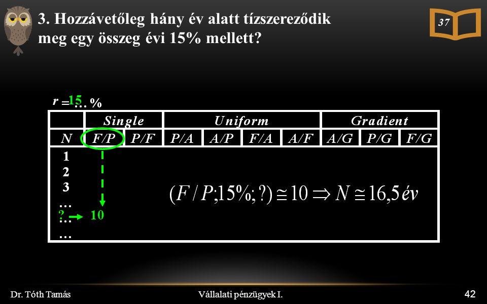 Vállalati pénzügyek I. Dr. Tóth Tamás 42 3.