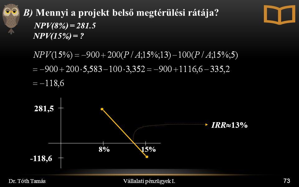 Vállalati pénzügyek I. Dr. Tóth Tamás 73 B) Mennyi a projekt belső megtérülési rátája.
