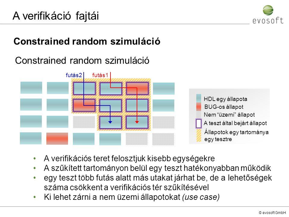 © evosoft GmbH Constrained random szimuláció A verifikáció fajtái A verifikációs teret felosztjuk kisebb egységekre A szűkített tartományon belül egy
