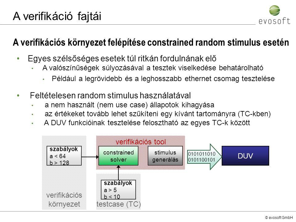 © evosoft GmbH A verifikációs környezet felépítése constrained random stimulus esetén A verifikáció fajtái Egyes szélsőséges esetek túl ritkán forduln