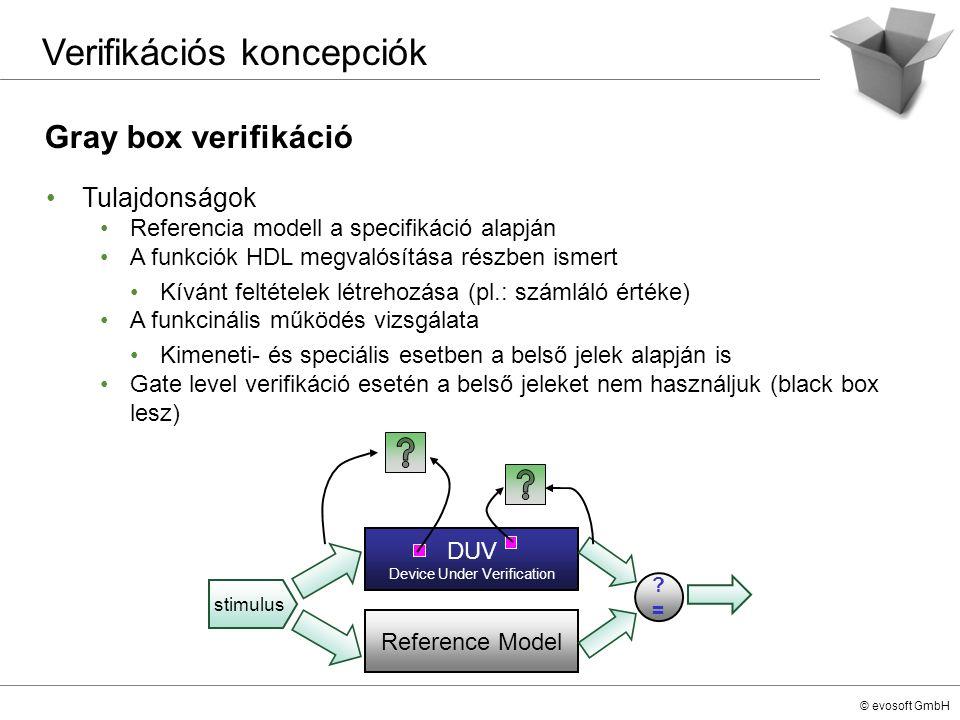 © evosoft GmbH Gray box verifikáció Verifikációs koncepciók Tulajdonságok Referencia modell a specifikáció alapján A funkciók HDL megvalósítása részbe