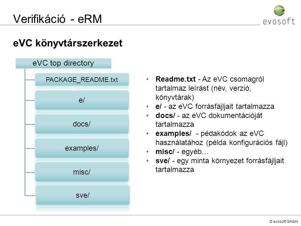 © evosoft GmbH Verifikáció - eRM eVC könyvtárszerkezet eVC top directory PACKAGE_README.txt e/docs/examples/misc/sve/ Readme.txt - Az eVC csomagról ta