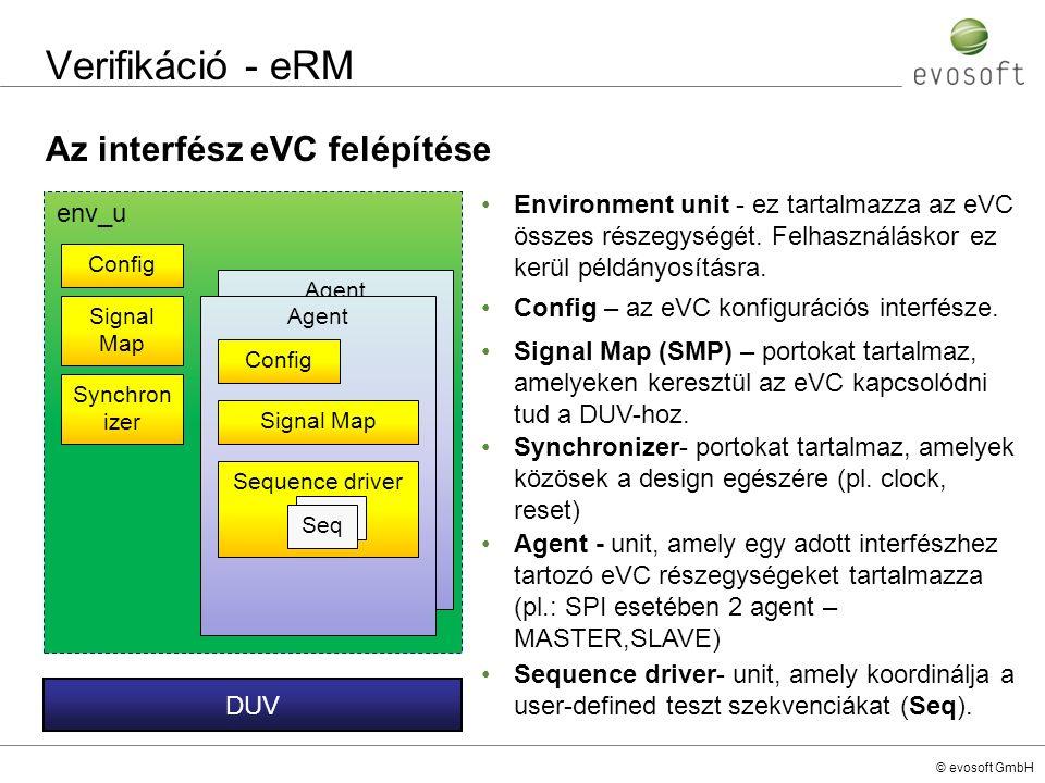 © evosoft GmbH Verifikáció - eRM Az interfész eVC felépítése Environment unit - ez tartalmazza az eVC összes részegységét. Felhasználáskor ez kerül pé