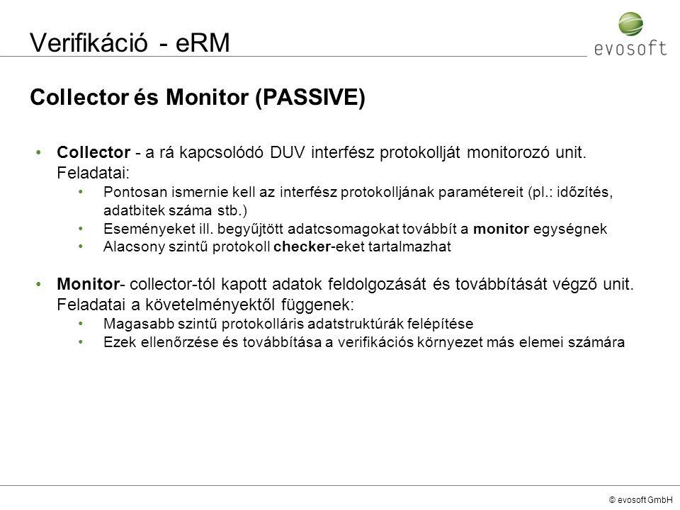 © evosoft GmbH Verifikáció - eRM Collector és Monitor (PASSIVE) Collector - a rá kapcsolódó DUV interfész protokollját monitorozó unit. Feladatai: Pon