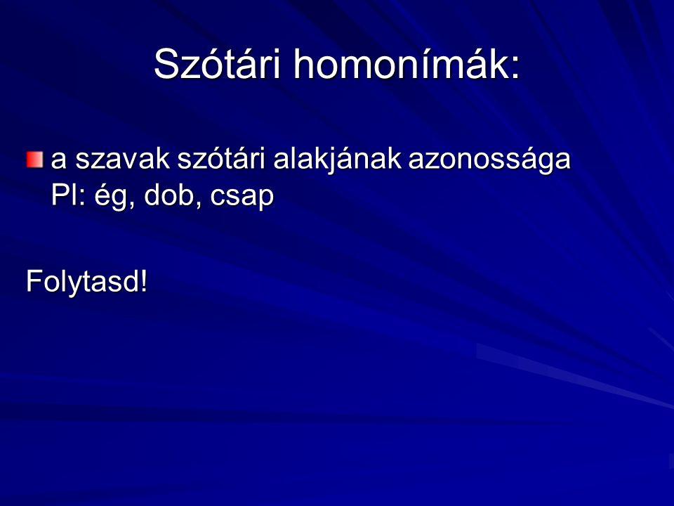 Szótári homonímák: a szavak szótári alakjának azonossága Pl: ég, dob, csap Folytasd!