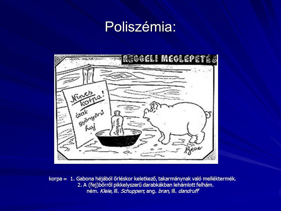 Poliszémia: korpa = 1. Gabona héjából őrléskor keletkező, takarmánynak való melléktermék.