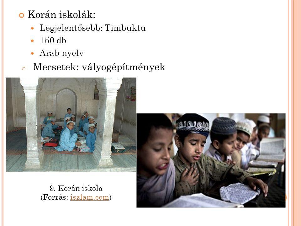 Korán iskolák: Legjelentősebb: Timbuktu 150 db Arab nyelv o Mecsetek: vályogépítmények 9.