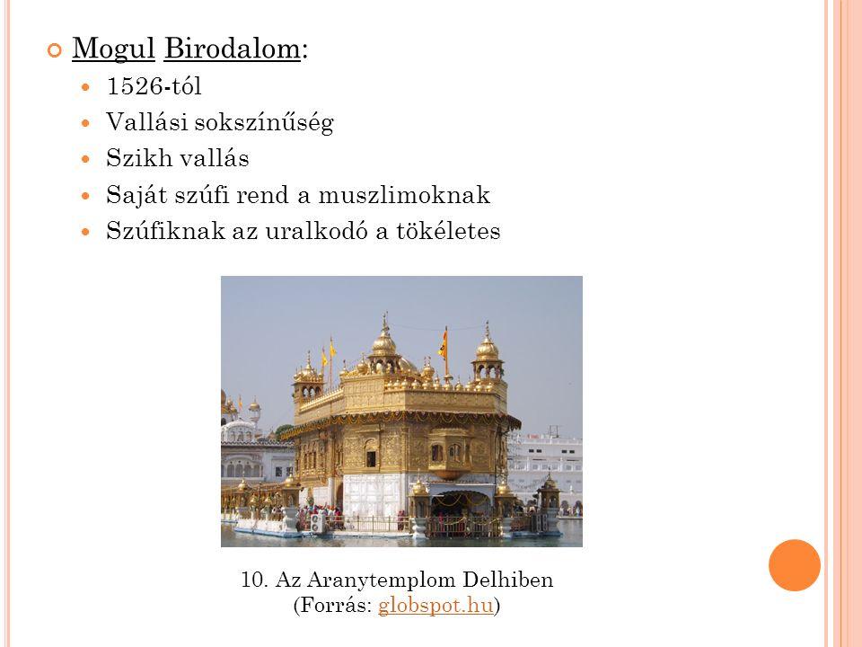 Mogul Birodalom: 1526-tól Vallási sokszínűség Szikh vallás Saját szúfi rend a muszlimoknak Szúfiknak az uralkodó a tökéletes 10.