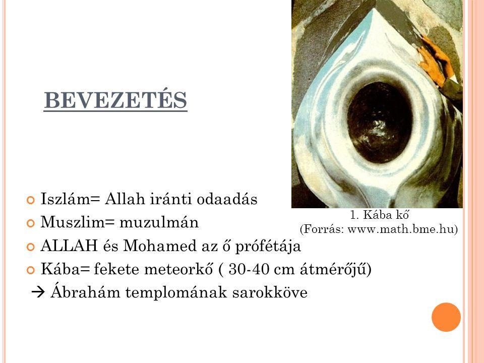 BEVEZETÉS Iszlám= Allah iránti odaadás Muszlim= muzulmán ALLAH és Mohamed az ő prófétája Kába= fekete meteorkő ( 30-40 cm átmérőjű)  Ábrahám templomának sarokköve 1.