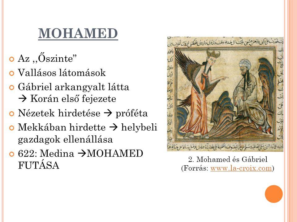 MOHAMED Az,,Őszinte Vallásos látomások Gábriel arkangyalt látta  Korán első fejezete Nézetek hirdetése  próféta Mekkában hirdette  helybeli gazdagok ellenállása 622: Medina  MOHAMED FUTÁSA 2.