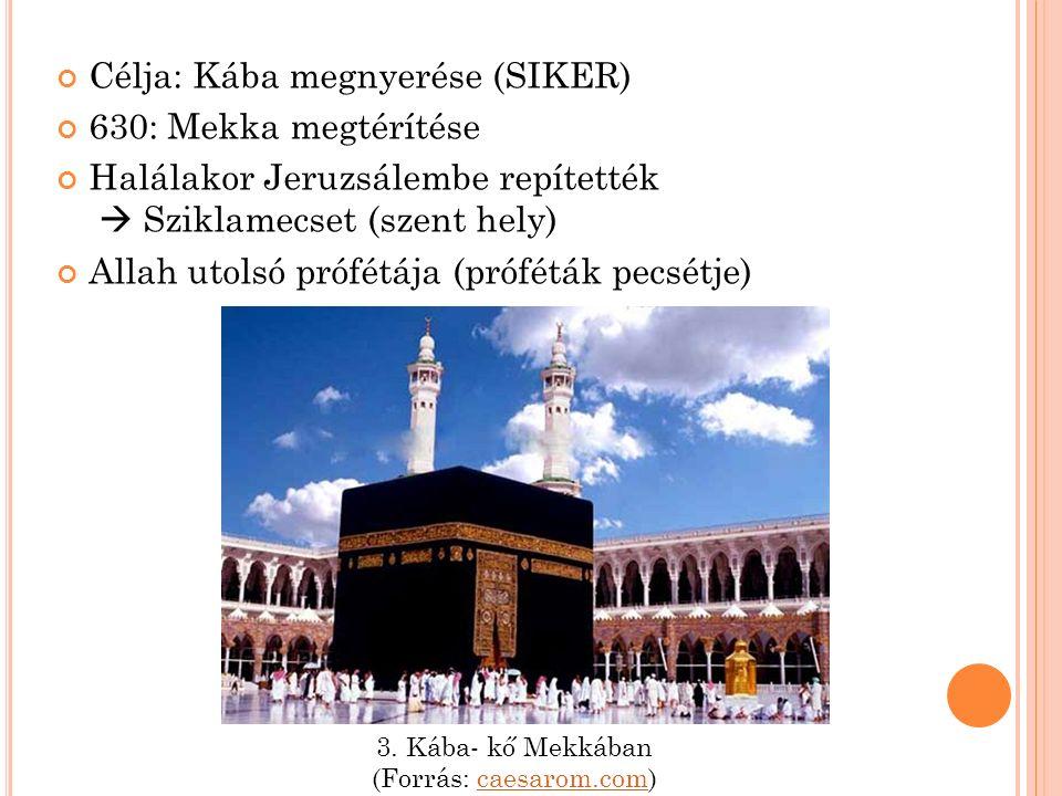 Célja: Kába megnyerése (SIKER) 630: Mekka megtérítése Halálakor Jeruzsálembe repítették  Sziklamecset (szent hely) Allah utolsó prófétája (próféták pecsétje) 3.