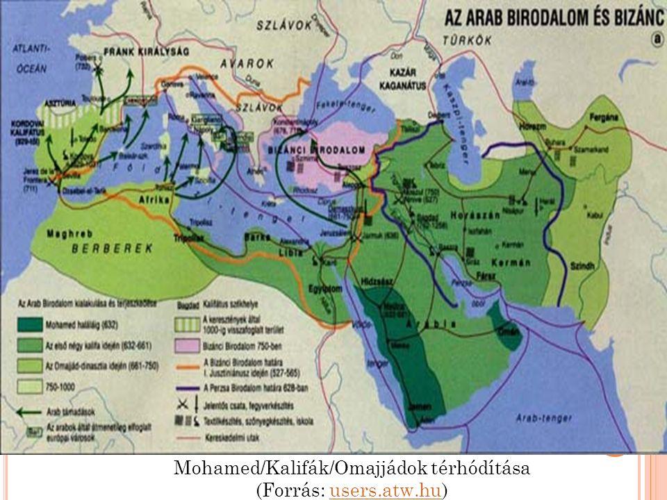 Mohamed/Kalifák/Omajjádok térhódítása (Forrás: users.atw.hu)users.atw.hu
