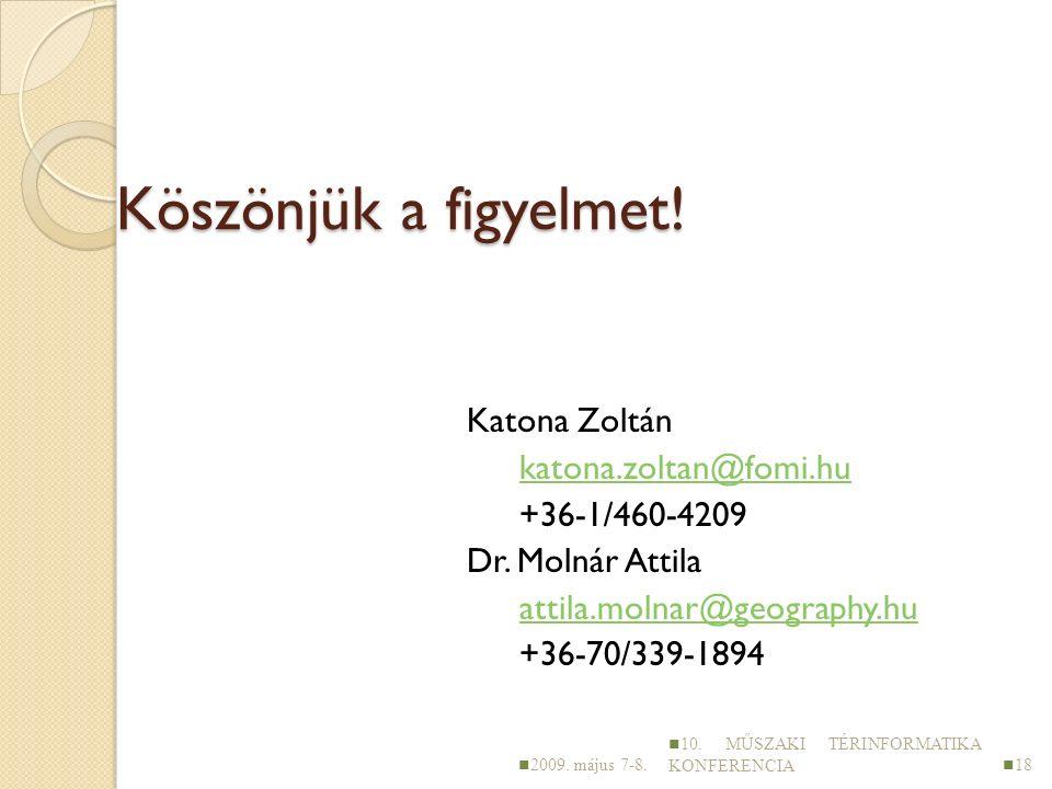 Köszönjük a figyelmet. Katona Zoltán katona.zoltan@fomi.hu +36-1/460-4209 Dr.