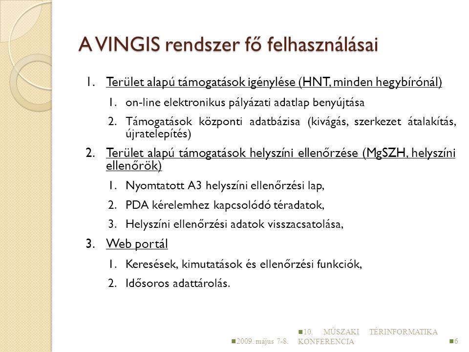 A VINGIS rendszer fő felhasználásai 1.Terület alapú támogatások igénylése (HNT, minden hegybírónál) 1.on-line elektronikus pályázati adatlap benyújtása 2.Támogatások központi adatbázisa (kivágás, szerkezet átalakítás, újratelepítés) 2.Terület alapú támogatások helyszíni ellenőrzése (MgSZH, helyszíni ellenőrök) 1.Nyomtatott A3 helyszíni ellenőrzési lap, 2.PDA kérelemhez kapcsolódó téradatok, 3.Helyszíni ellenőrzési adatok visszacsatolása, 3.Web portál 1.Keresések, kimutatások és ellenőrzési funkciók, 2.Idősoros adattárolás.