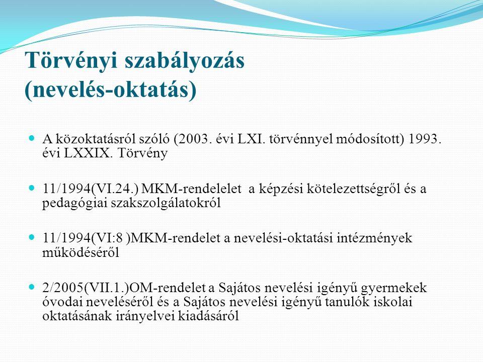 Törvényi szabályozás (nevelés-oktatás) A közoktatásról szóló (2003. évi LXI. törvénnyel módosított) 1993. évi LXXIX. Törvény 11/1994(VI.24.) MKM-rende